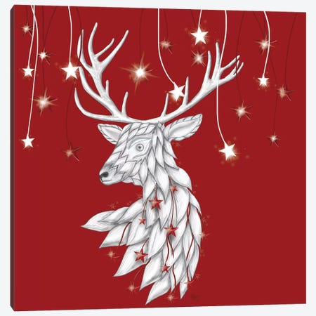 White Deer and Hanging Stars Canvas Print #FNK868} by Fab Funky Canvas Art