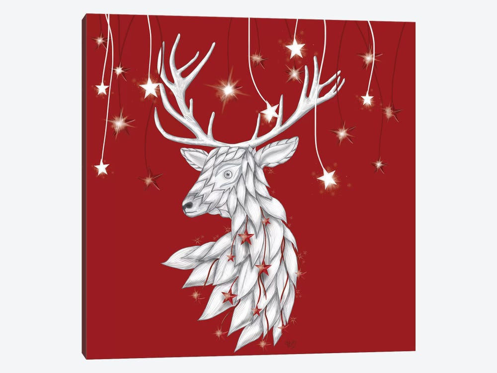 White Deer and Hanging Stars by Fab Funky 1-piece Canvas Print