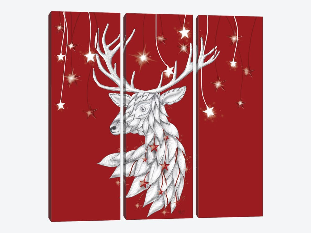 White Deer and Hanging Stars by Fab Funky 3-piece Art Print