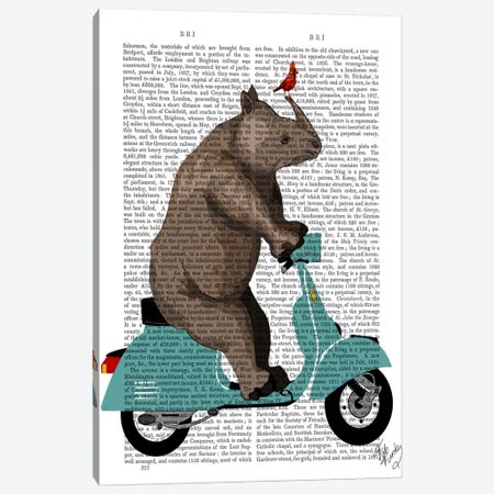 Rhino On Moped Canvas Print #FNK86} by Fab Funky Canvas Art