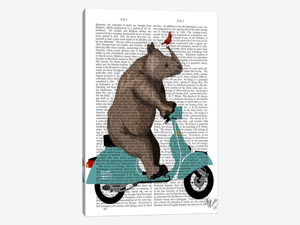 Rhino On Moped by Fab Funky 1-piece Canvas Artwork