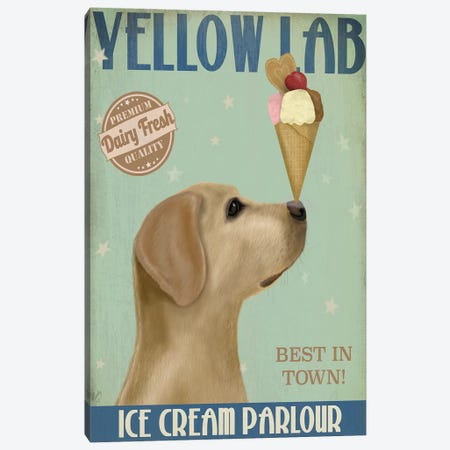 Yellow Labrador Ice Cream Canvas Print #FNK871} by Fab Funky Canvas Art Print
