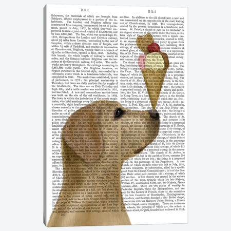 Yellow Labrador Ice Cream, Print BG Canvas Print #FNK872} by Fab Funky Art Print