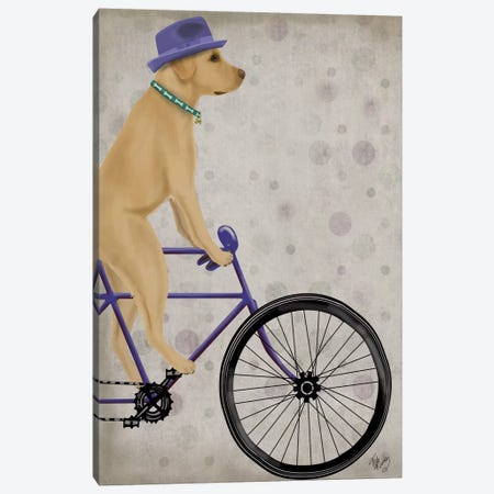 Yellow Labrador on Bicycle 3-Piece Canvas #FNK873} by Fab Funky Art Print