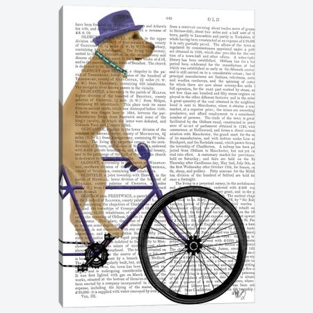 Yellow Labrador on Bicycle, Print BG Canvas Print #FNK874} by Fab Funky Canvas Art