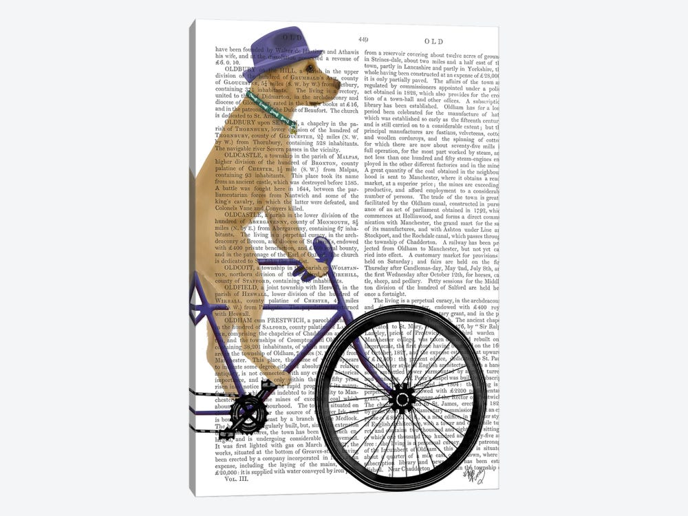 Yellow Labrador on Bicycle, Print BG by Fab Funky 1-piece Canvas Artwork