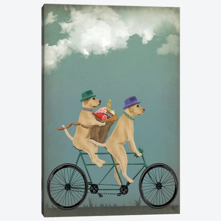 Yellow Labrador Tandem Canvas Print #FNK875} by Fab Funky Canvas Art