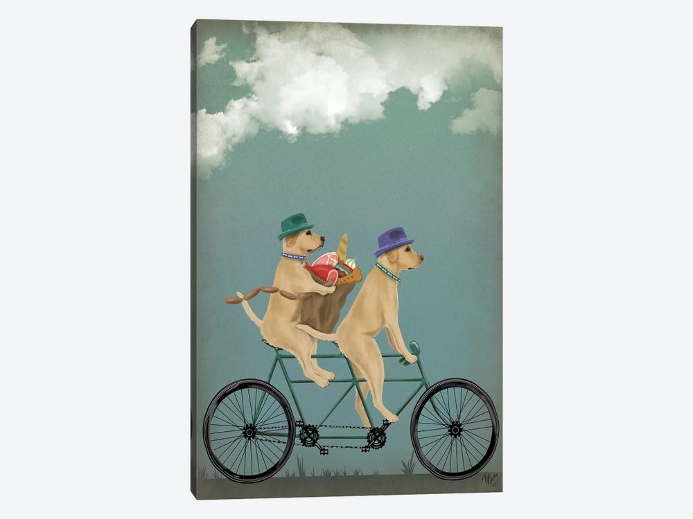 Yellow Labrador Tandem by Fab Funky 1-piece Canvas Art Print