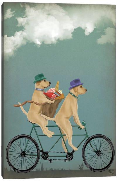 Yellow Labrador Tandem Canvas Art Print