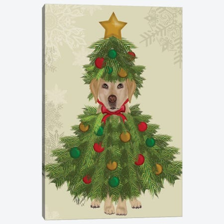 Yellow Labrador, Christmas Tree Costume Canvas Print #FNK877} by Fab Funky Canvas Wall Art
