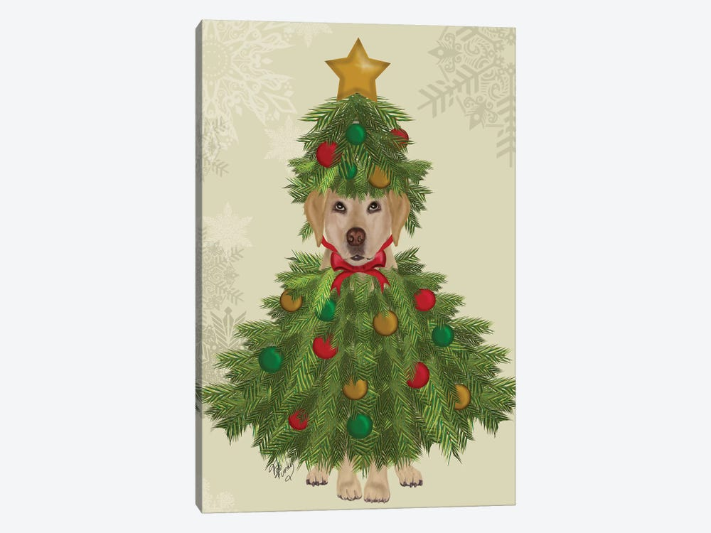 Yellow Labrador, Christmas Tree Costume by Fab Funky 1-piece Art Print