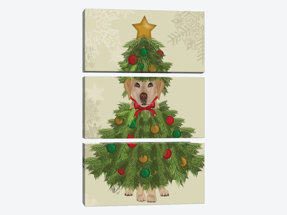 Yellow Labrador, Christmas Tree Costume by Fab Funky 3-piece Canvas Art Print