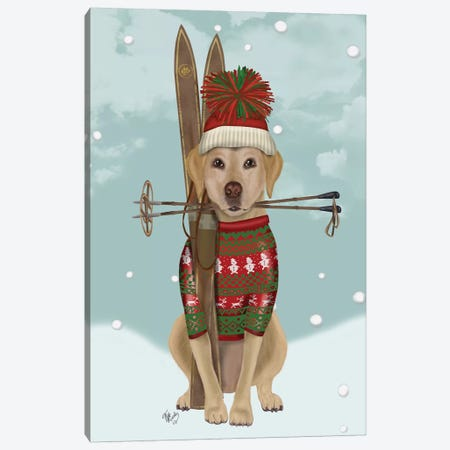 Yellow Labrador, Skiing Canvas Print #FNK878} by Fab Funky Canvas Print