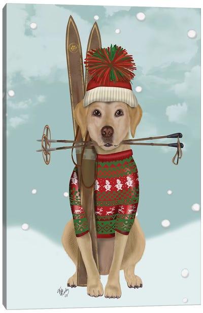 Yellow Labrador, Skiing Canvas Art Print