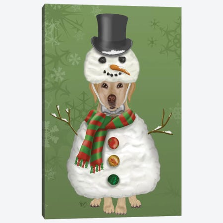 Yellow Labrador, Snowman Costume Canvas Print #FNK879} by Fab Funky Canvas Art Print