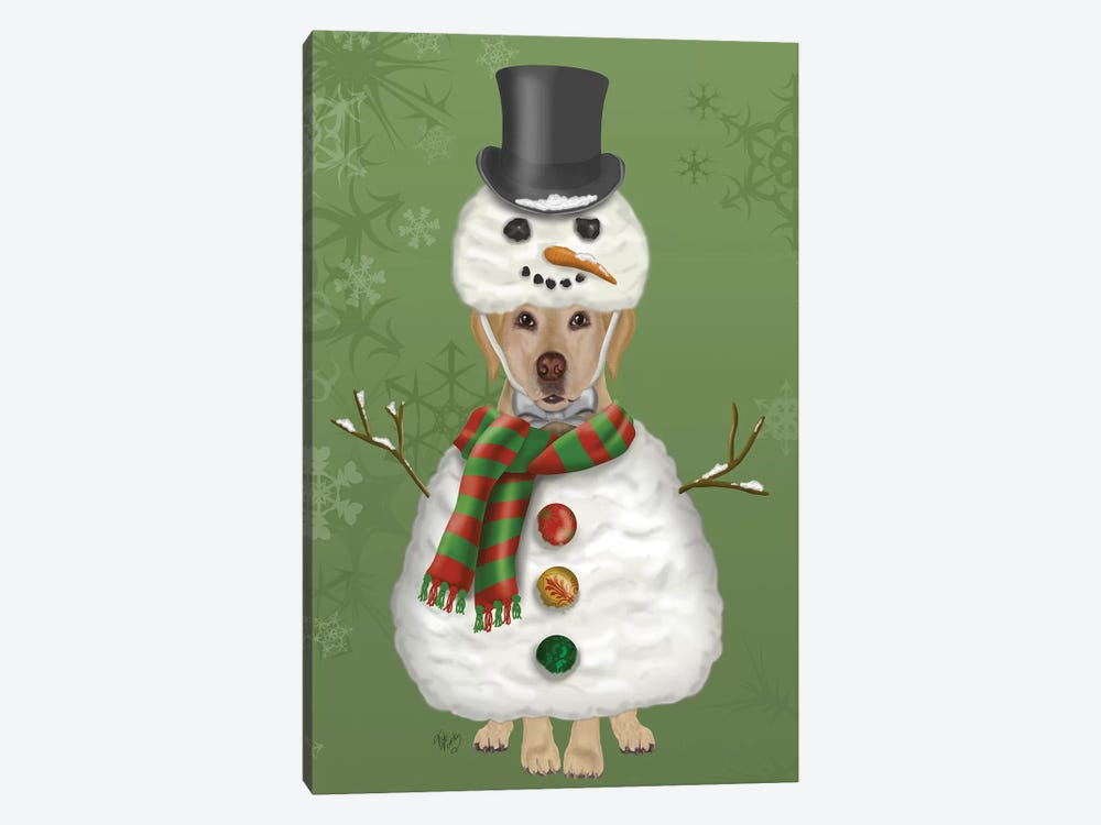 Yellow Labrador, Snowman Costume by Fab Funky 1-piece Art Print