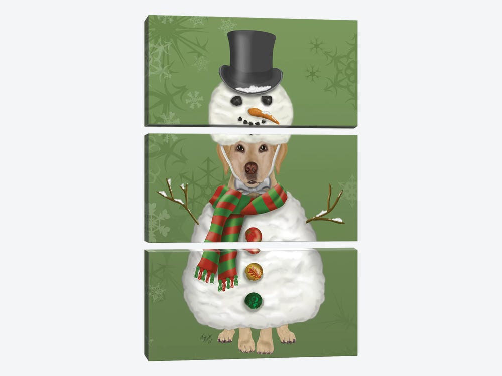 Yellow Labrador, Snowman Costume by Fab Funky 3-piece Canvas Print