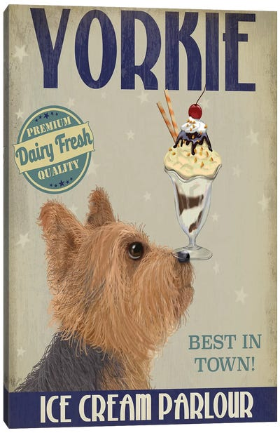 Yorkshire Terrier Ice Cream Canvas Art Print