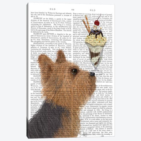 Yorkshire Terrier Ice Cream, Print BG Canvas Print #FNK881} by Fab Funky Canvas Wall Art