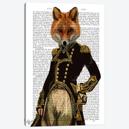Admiral Fox, Print BG 3-Piece Canvas #FNK883} by Fab Funky Canvas Wall Art