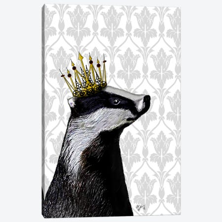 Badger King Canvas Print #FNK885} by Fab Funky Canvas Art Print