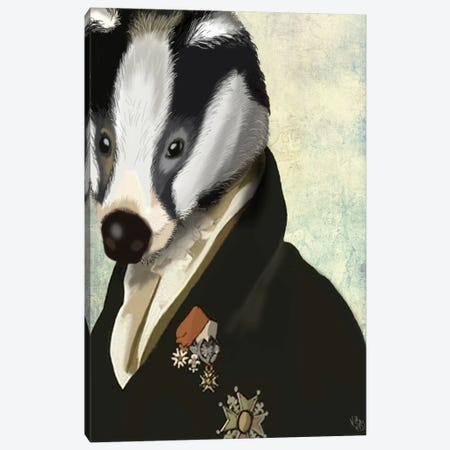 Badger The Hero Canvas Print #FNK888} by Fab Funky Canvas Wall Art