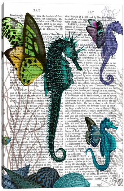 Seahorse Trio With Wings Canvas Art Print