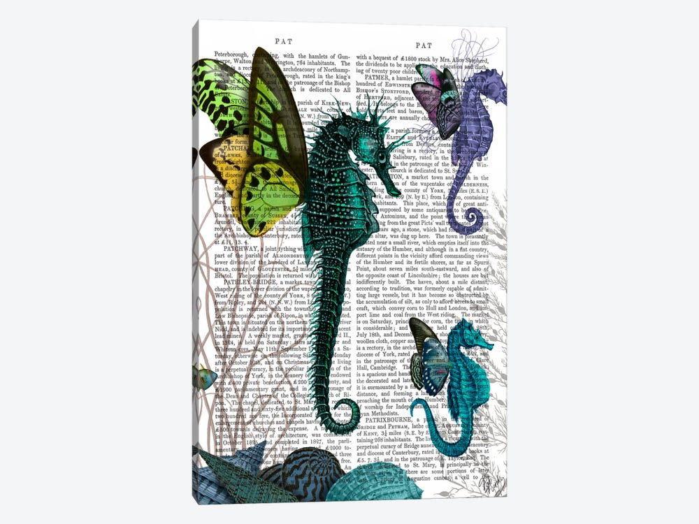 Seahorse Trio With Wings by Fab Funky 1-piece Canvas Wall Art