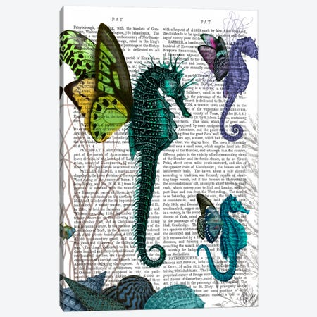 Seahorse Trio With Wings Canvas Print #FNK88} by Fab Funky Canvas Print