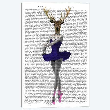 Ballet Deer In Blue Canvas Print #FNK890} by Fab Funky Canvas Print
