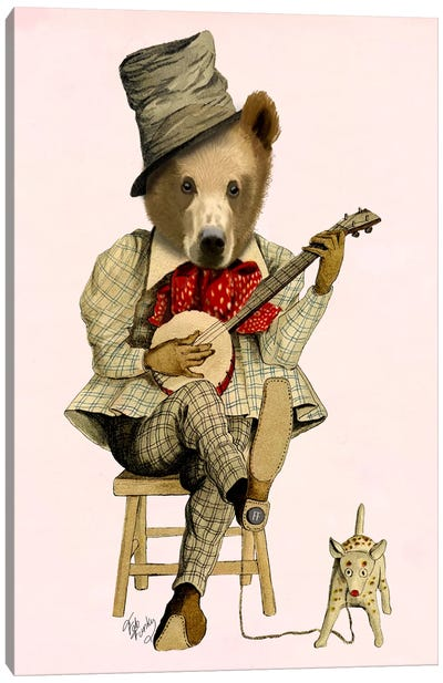Banjo Bear Canvas Art Print