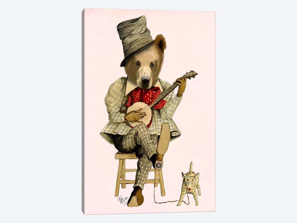 Banjo Bear by Fab Funky 1-piece Canvas Art