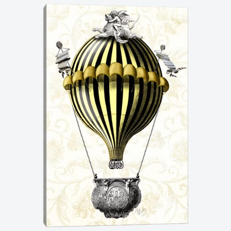 Baroque Balloon In Black Yellow Canvas Print #FNK893} by Fab Funky Canvas Print