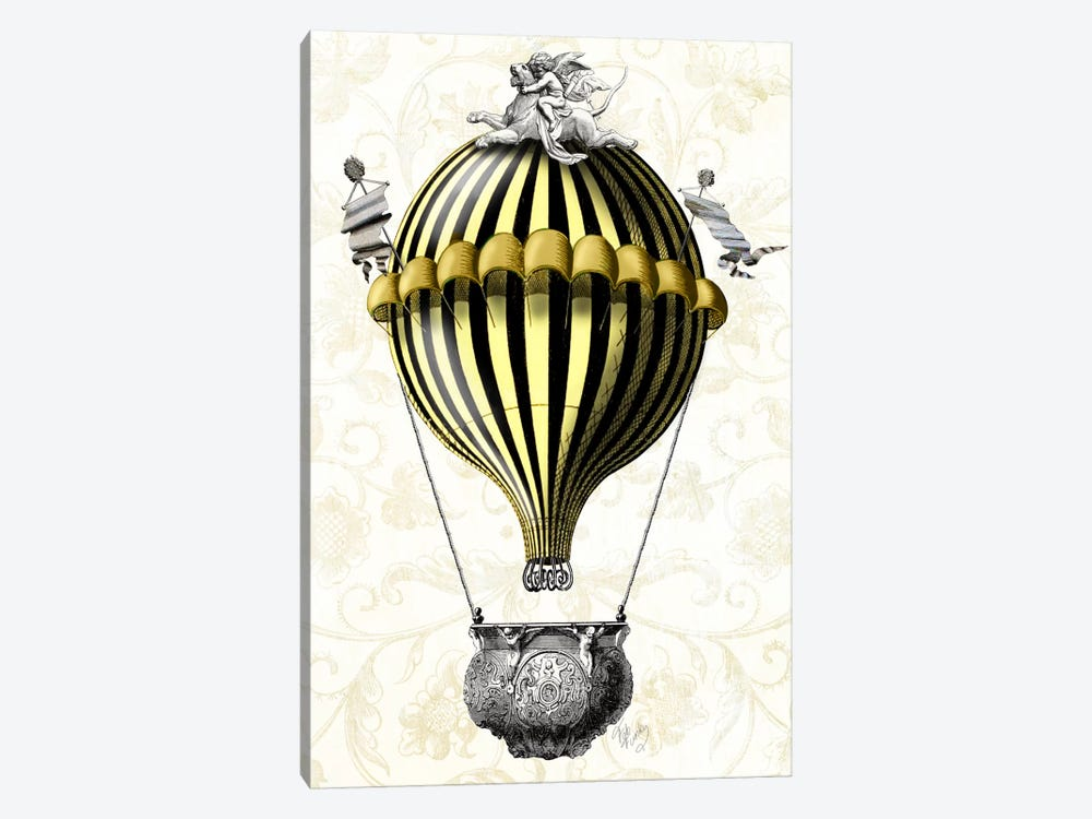 Baroque Balloon In Black Yellow by Fab Funky 1-piece Canvas Print