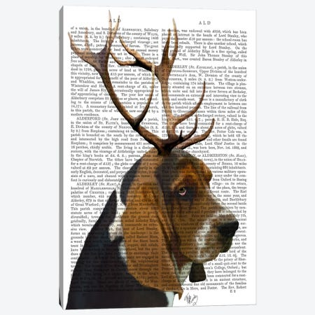 Basset Hound & Antlers Canvas Print #FNK897} by Fab Funky Canvas Wall Art