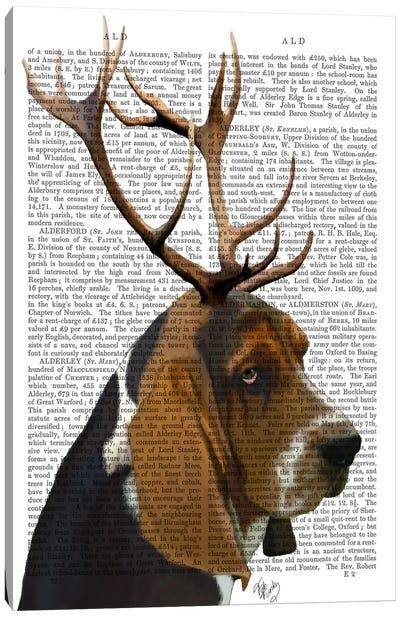Basset Hound & Antlers Canvas Art Print