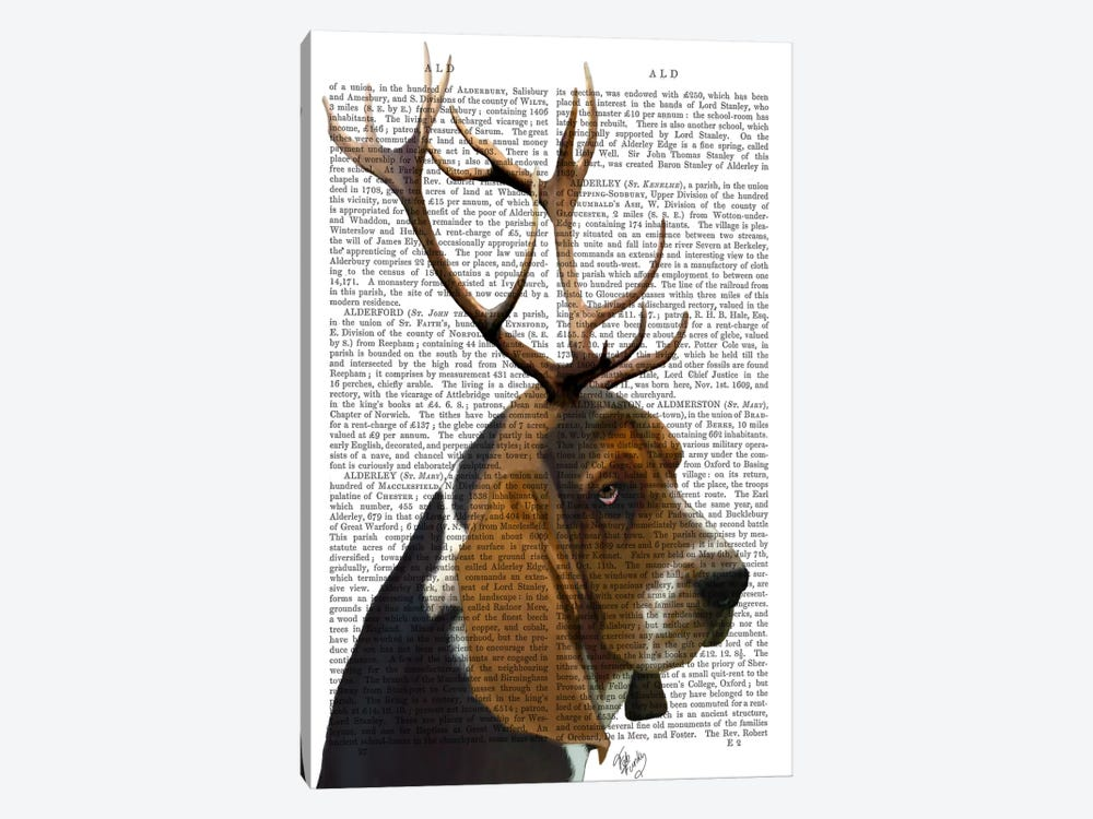 Basset Hound & Antlers by Fab Funky 1-piece Art Print