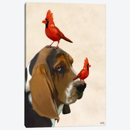 Basset Hound & Birds Canvas Print #FNK898} by Fab Funky Canvas Art Print