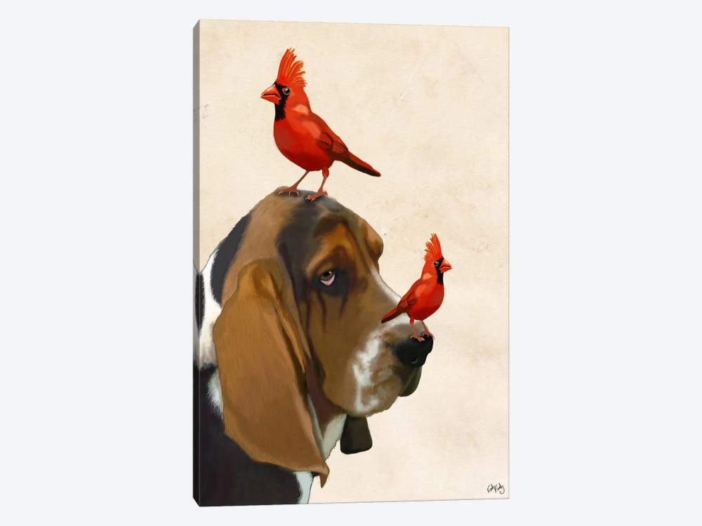 Basset Hound & Birds by Fab Funky 1-piece Canvas Wall Art