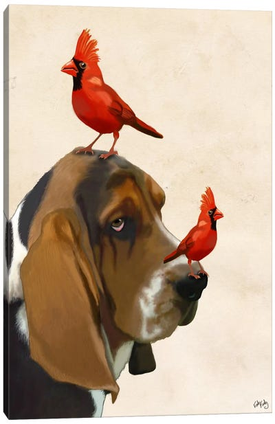 Basset Hound & Birds Canvas Art Print