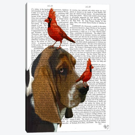 Basset Hound & Birds, Print BG Canvas Print #FNK899} by Fab Funky Canvas Art Print