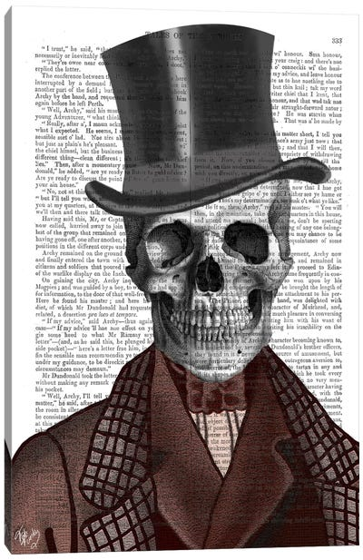 Skeleton Gentleman And Top Hat Canvas Art Print