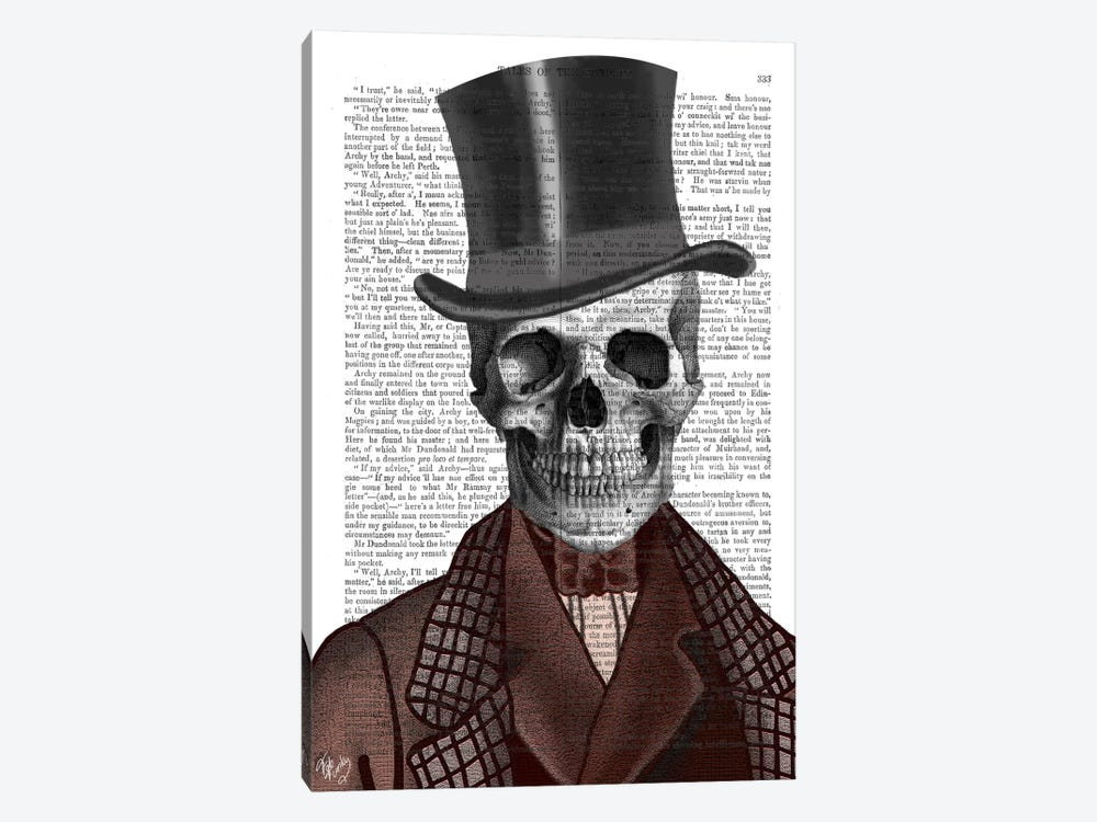Skeleton Gentleman And Top Hat by Fab Funky 1-piece Canvas Art Print