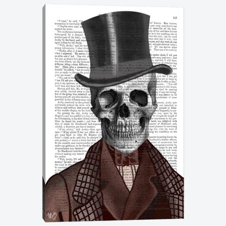 Skeleton Gentleman And Top Hat Canvas Print #FNK89} by Fab Funky Art Print