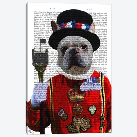Bulldog Beefeater Canvas Print #FNK8} by Fab Funky Canvas Art
