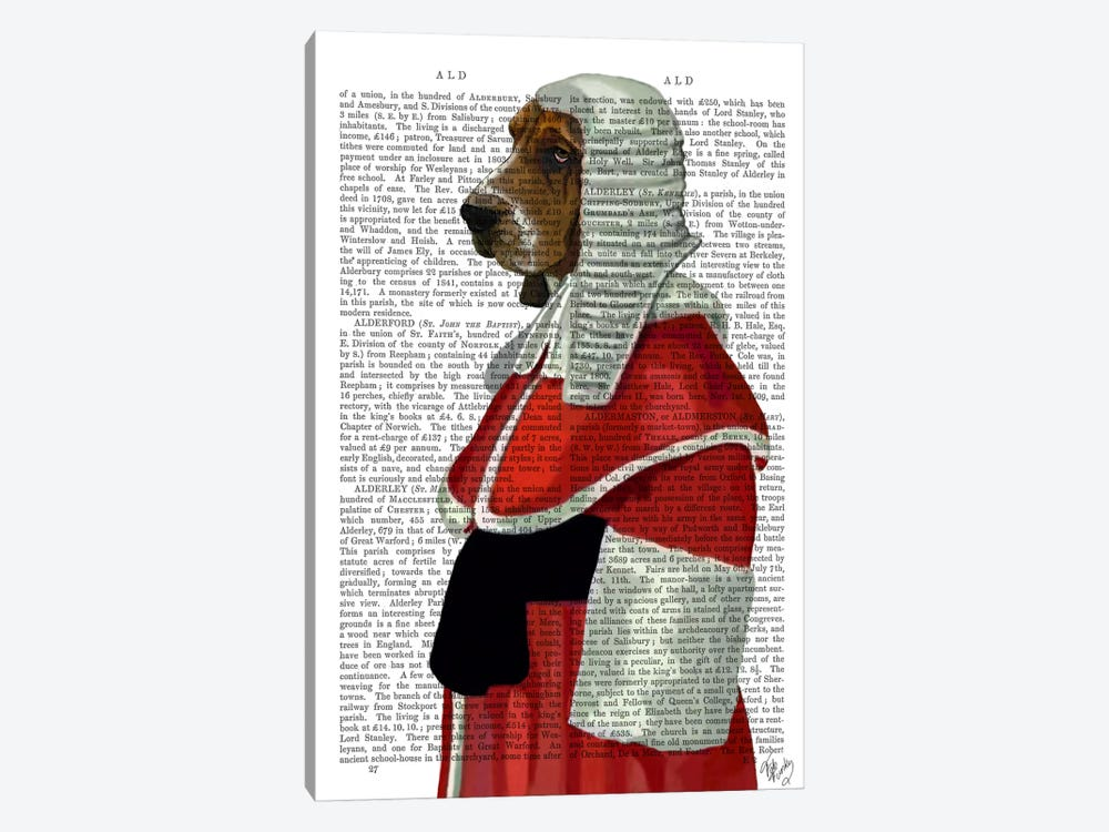 Basset Hound Judge Portrait by Fab Funky 1-piece Canvas Wall Art