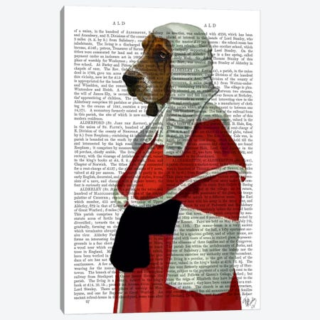 Basset Hound Judge Portrait Canvas Print #FNK900} by Fab Funky Canvas Art Print
