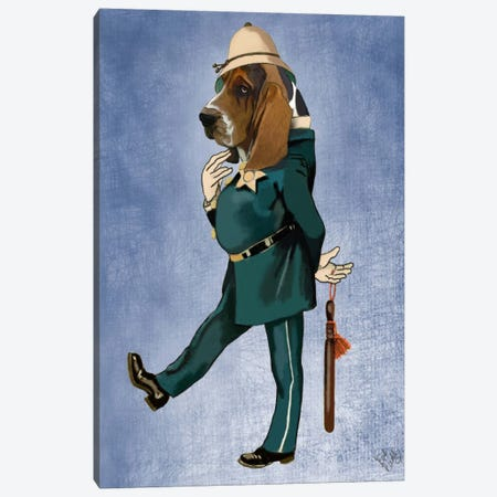 Basset Hound Policeman Canvas Print #FNK901} by Fab Funky Canvas Art Print