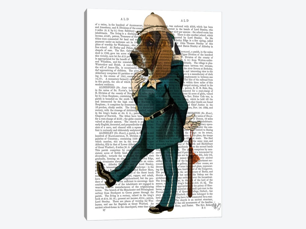 Basset Hound Policeman, Print BG by Fab Funky 1-piece Canvas Artwork