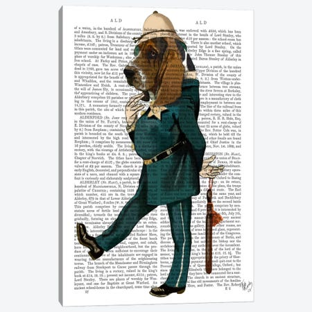 Basset Hound Policeman, Print BG Canvas Print #FNK902} by Fab Funky Canvas Print